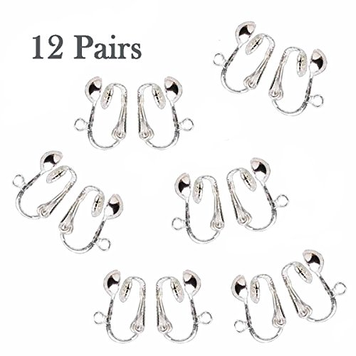 12 Pairs Silver Plated Clip on Earring Findings Standard Half Ball with Easy Open Loop for Easy Converting From Standard Ear Wires