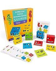 ZXZCHGN Houten uitdrukkingen speelgoed, houten gezicht emoji patroon bouwstenen speelgoed kinderen Montessori toddler puzzel stapelen houten game puzzel 12 kamers