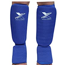 Shin Pad Leg & Foot Guards Muay Thai Kick Boxing Guard Protector,Blue SP1