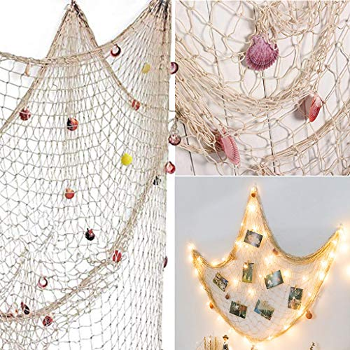Sodoop Rustic Nautical Decorative Fishing Net Shell Wall Decor, Sea Theme Fish Net Decor for Wall Decoration Accessory Photo Hanging Display Net with Shells,Beige (Ship from USA,3 to 7Day)