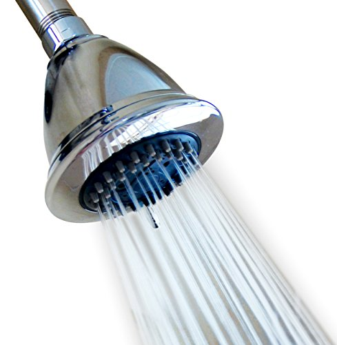4 Inch High Pressure Multiple Spray Shower Head – Best Relaxing Tired Muscles and Spa - For Wall Mount With Swivel Metal Ball Connector Showerhead - Polished Chrome