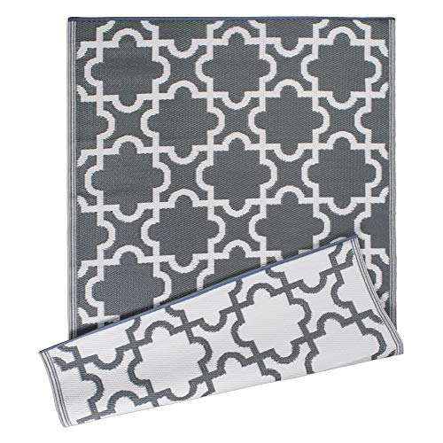 DII Moroccan Indoor/Outdoor Lightweight, Reversible, & Fade Resistant Area Rug, Use For Patio, Deck, Garage, Picnic, Beach, Camping, BBQ, Or Everyday Use - 4 x 6', Gray Lattice (Outdoor Indoor Rug)