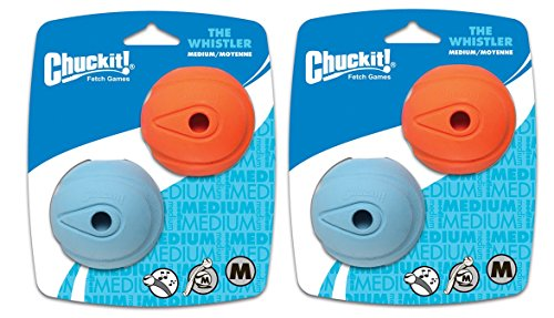 Chuckit! 4 Pack The Whistler Size Medium / 2.5 Inch (2 Packages with 2 Balls Each)