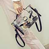 Meolin Clear Bag Cross Body Bag Women's Satchel Transparent Messenger Shoulder Handbag,black,As Description