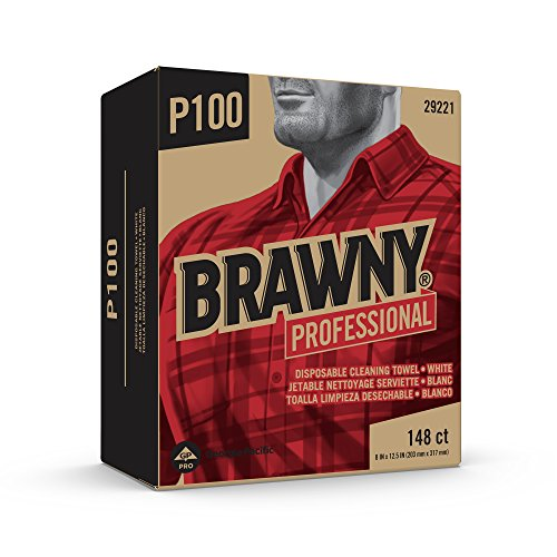 Brawny Professional P100 Disposable Cleaning Towel by GP PRO, 29221, Light Duty, Tall Box, White, 20 Boxes @ 148 Count by Brawny Industrial