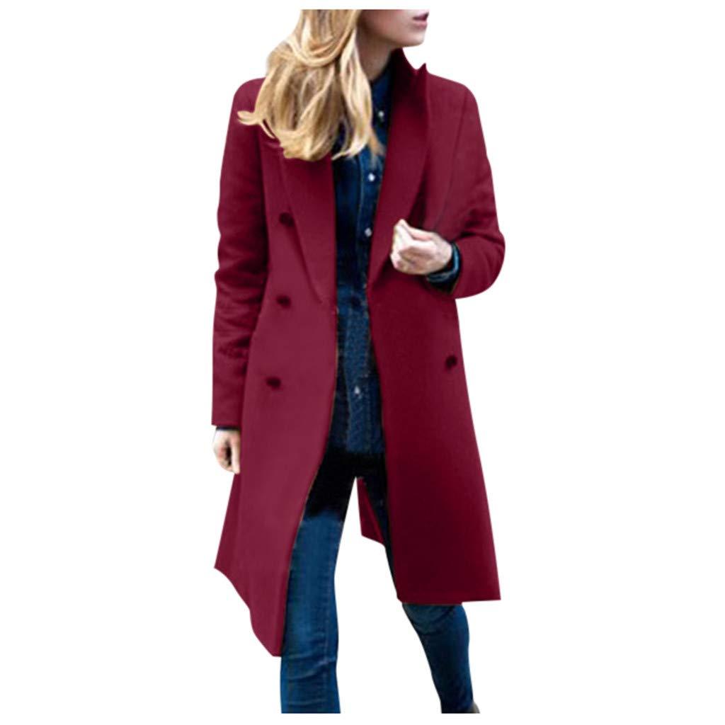Eoeth Womens Double-Breasted Woolen Coat Winter Lapel Trench Jacket Long Overcoat Outwear Tunic Windbreaker with Pocket Wine by Eoeth