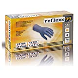 Reflexx R99, Guanti Hi-Risk in Nitrile senza Polvere Gr. 8.9, 50 Pezzi, Blu