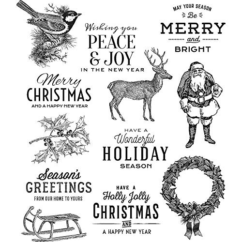ShopForAllYou Stamping & Embossing Stampers Anonymous''Festive Overlay'' Rubber Cling Stamp Set 2018 by AllStamp (Image #1)