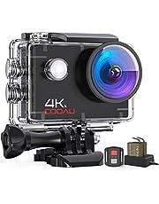 COOAU Caméra Sport 4K 16MP WiFi avec 2 Canaux Chargeur Caméra d'action Étanche 40M Camera Action Télécommande Stabilisateur EIS