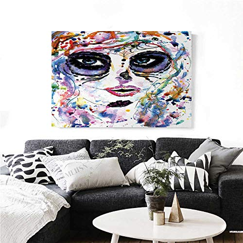 Sugar Skull Canvas Wall Art Halloween Girl with Sugar Skull Makeup Watercolor Painting Style Creepy Look Print Paintings for Home Wall Office Decor 48