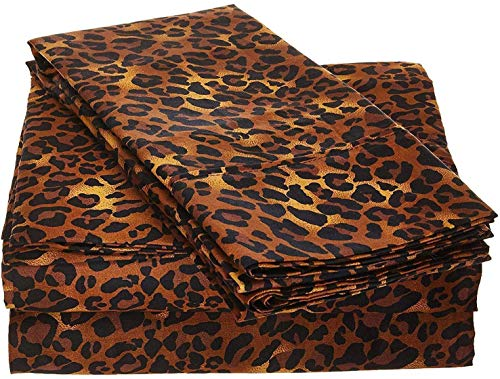 Rajlinen 100% Cotton Bed Sheets - 300 Thread Count Sateen - 15 inch Deep Pocket - Quality Luxury Bedding -{ 4 Piece Best Sheets for Bed, Breathable, Soft & Silky }(Leopard Print Twin) (Animal Bedding Print Luxury)