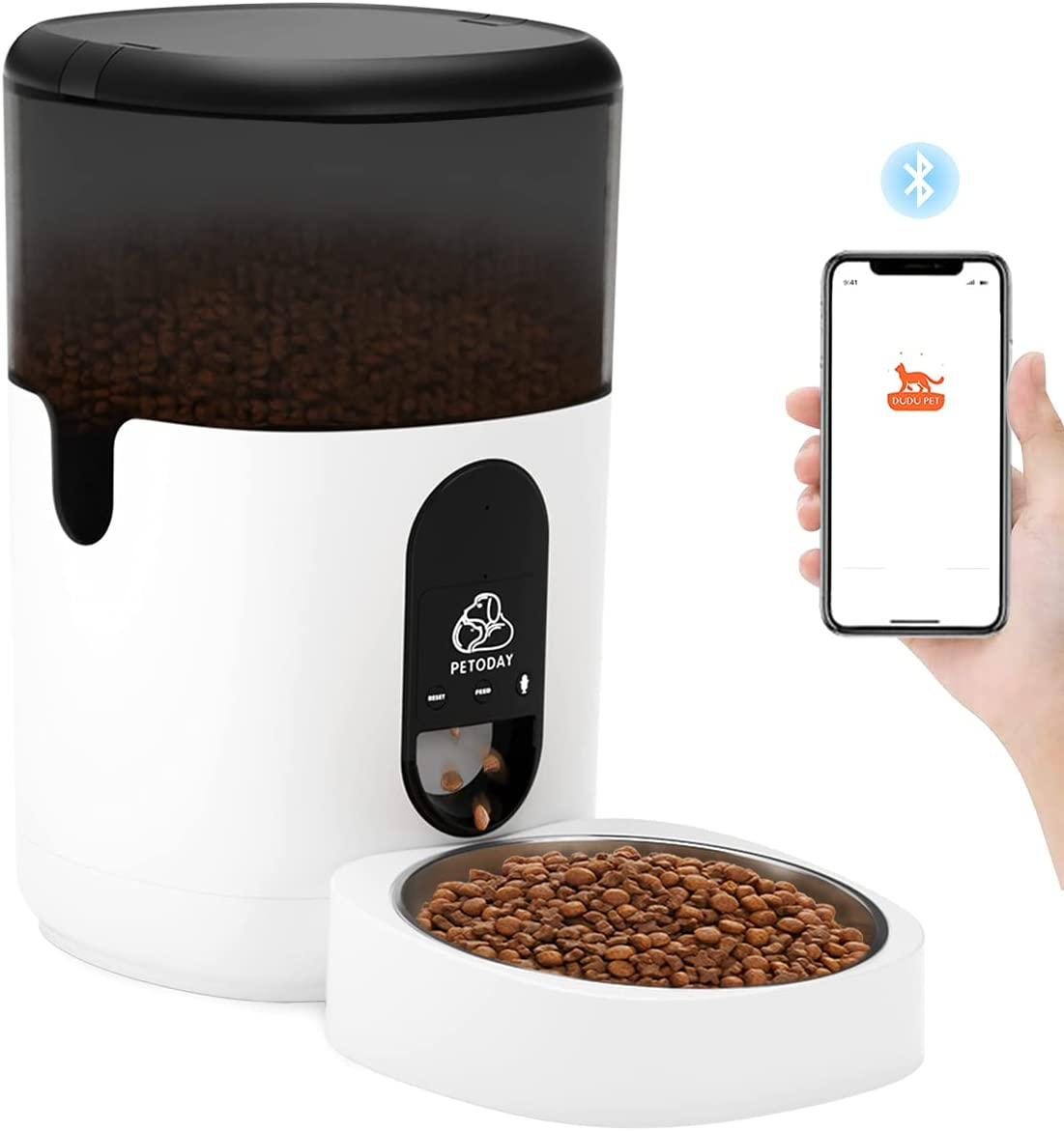 PETODAY 4L Automatic Cat Feeder,Bluetooth Enabled Timed Dog Feeder, Dog Food Dispenser with Programmable Timer,Voice Recording,Up to 20 Portion Control 8 Meals Per Day for Small to Medium Cats Dogs