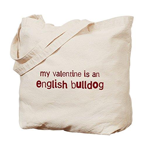 CafePress–Bulldog Inglés San Valentín Tote Bag–Natural gamuza de bolsa de lona bolsa, bolsa de la compra
