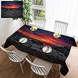 cape cod decorating HOOMORE Simple Color Cotton Linen Tablecloth,Washable, Cape Cod Sunrise Decorating Restaurant - Kitchen School Coffee Shop Rectangular 35×35in