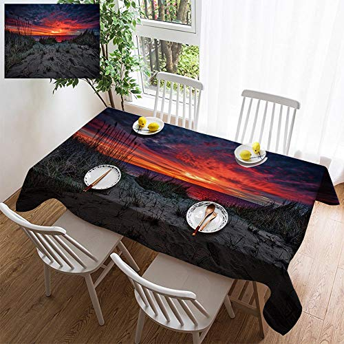 HOOMORE Simple Color Cotton Linen Tablecloth,Washable, Cape Cod Sunrise Decorating Restaurant - Kitchen School Coffee Shop Rectangular 35×35in