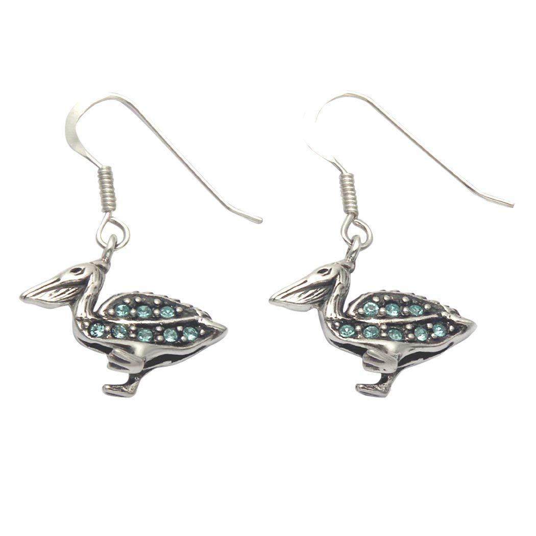 Pelican Wire | Amazon Com Sterling Silver Pelican Wire Earrings W Aqua Crystal