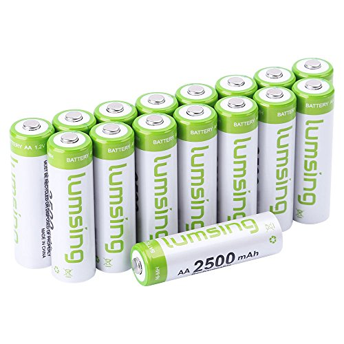 Lumsing 2500mAh AA Rechargeable Batteries 16-Pack With Battery Storage Box