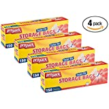 Propack Storage Bags, Twist Tie 1 Gallon 150 Count Pack of 4 (600 Storage Bags Total)
