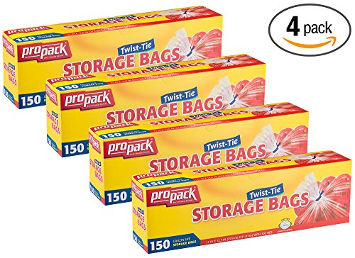 - Propack Storage Bags, Twist Tie 1 Gallon 150 Count Pack of 4 (600 Storage Bags Total)