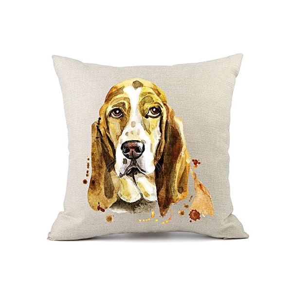 Moyun Cute Pet Basset Hound Dog Pattern Cotton Linen Throw Pillowcase Cushion Cover Car Sofa Home Decor 45 x 45 cm 1
