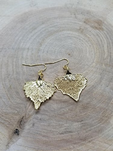 Real 24K Gold Dipped Cottonwood Tree Leaf Drop Dangle Earrings Nature Outdoor Earth Jewelry Beautiful - Cottonwood Gold Leaf 24k