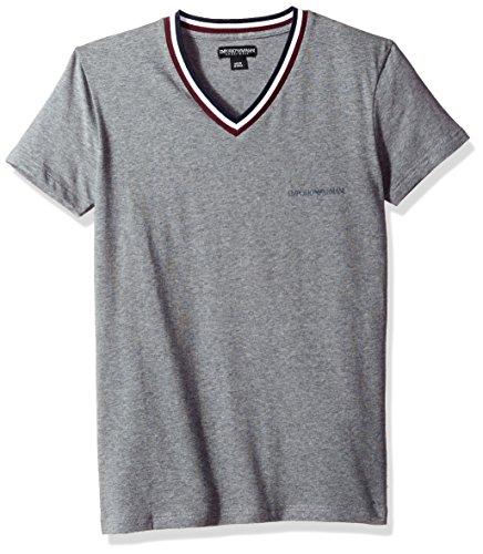 Emporio Armani Men's Rugby Player Vneck T-Shirt, Dark Grey, M - Emporio Armani T-shirt Top