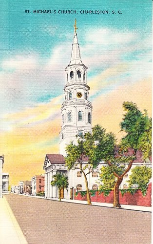 Vintage Postcard St. Michael's Church in Charleston, South Carolina
