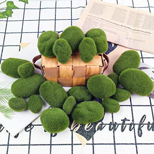 BigOtters 24 PCS Artificial Moss Rocks Decorative, 6 Size Faux Green Moss Covered Stones Green Moss Balls Fake Moss Decor for Fairy Gardens Floral Arrangements Crafting