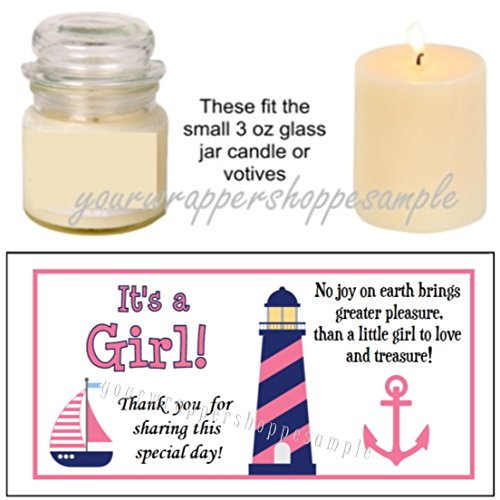 56 Pink and Navy Blue Nautical Baby Shower Candle Party Favor Labels Ahoy, It's a Girl!