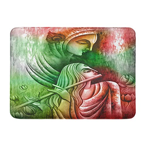 Suninapril Flannel Bath Mat Illustration Lord Flute on Wall Papers Abstract Art Artwork Asia Mat Non Slip Bathroom Rugs Shower Floors Absorbent Bath Rug Cozy Soft Carpet Tub Mats 12 X 24 Inches (Waiting On The Lord For A Mate)