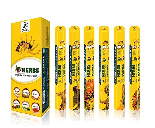 Chakra Herb Premium Fragrance Sticks - Pleasant and Peaceful Natural Incense Sticks - Premium Quality Aroma Sticks - 20 Sticks Per Box - Pack of 6 Scented Oil Sticks