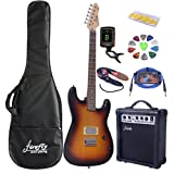 Full Size Black Electric Guitar ( Humbucker) with Amp, Case and Accessories Pack Beginner Starter Package (Sunburst)