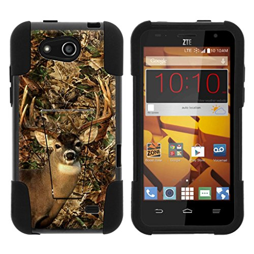 Camo Wildlife Series (MINITURTLE Phone Case Comaptible with ZTE Speed N9130 [STRIKE Impact Case Series] Hybrid Impact Case with Kickstand - Deer hunting Camo)