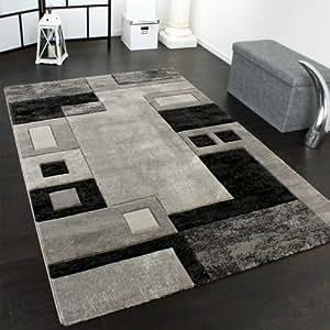 PHC Alfombra De Diseño Perfilado - A Cuadros - Jaspeado Gris Negro, tamaño:80x150 cm
