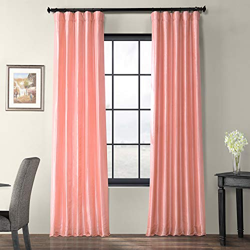 Half Price Drapes PTCH-JTSP202-84 Faux Silk Taffeta Curtain, Flamingo Pink