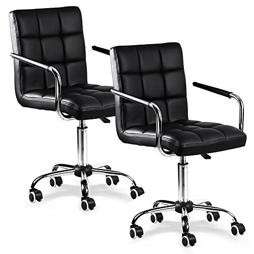 Yaheetech Black Faux Leather Computer Desk Chairs Home Office Swivle Chair Gas Lift Base On Wheels, Set of 2