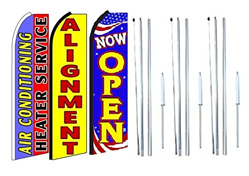 Pack of 3 Now Open King Swooper Feather Flag Sign Kit with Complete Hybrid Pole Set Air+Conditioning+Heater+Service,+Alignment