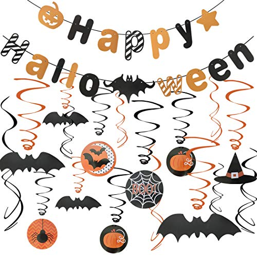 Happy Halloween Party Decorations Kit - Scare Halloween Party Swirl Ceiling Hanging 30pcs and Happy Halloween Banners Set ()
