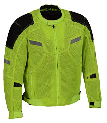 Milwaukee Performance Men's Mesh Racing Jacket with Armor (BLACK/NEON GREEN, 2X)