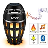 SANXIA LED Flame Speaker for Bedrooms Bedside Lamp Waterproof Music Night Lights Bed 96 Table Portable Bluetooth Camping Superior Bass and Stereo Sound for Indoor &Out