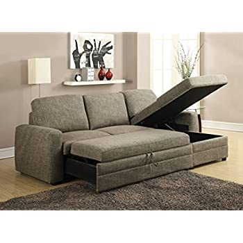 Major Q Clean And Simple Light Brown Linen Pull Out Sleeper Sectional Sofa  With