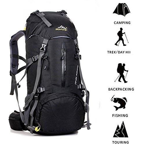 Wanderrucksack 50L - Innenrahmen mit wasserdichter Regenhülle zum Wandern, Reisen, Camping