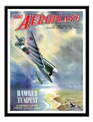 Iposters Hawker Tempest Aeroplane Magazine Cover Print 1940s Magnetic Memo Board Black Framed - 41 X 31 Cms (approx 16 X 12 Inches)