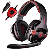 Sades SA903 Cuffie Gaming da Gioco USB e Over-Ear con 7.1 Surround Sound Luce LED Gaming Headset Auricolare con Microfono Regolatore di Volume per PC,MAC,Laptop,Computer