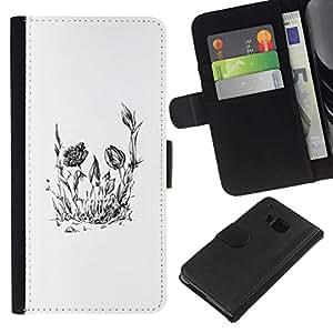 // PHONE CASE GIFT // Moda Estuche Funda de Cuero Billetera Tarjeta de crédito dinero bolsa Cubierta de proteccion Caso HTC One M7 / Floral Flower Skull /