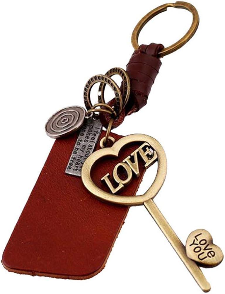 Amosfun llavero de cuero vintage llavero en forma de corazón bolsa de coche colgante colgante regalos para para marido papá novio día de san valentín día de padres cumpleaños