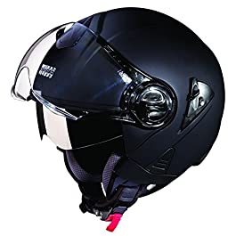 Studds Downtown Open Face Helmet (Matt Black, L)