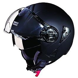 Studds DOWNTOWN Open Face Helmet (Matt Black, Large)