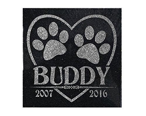 Personalized Garden Markers (Personalized Heart Paw Print Granite Dog Cat Pet Memorial Garden Stone Headstone Grave Marker 6x6)
