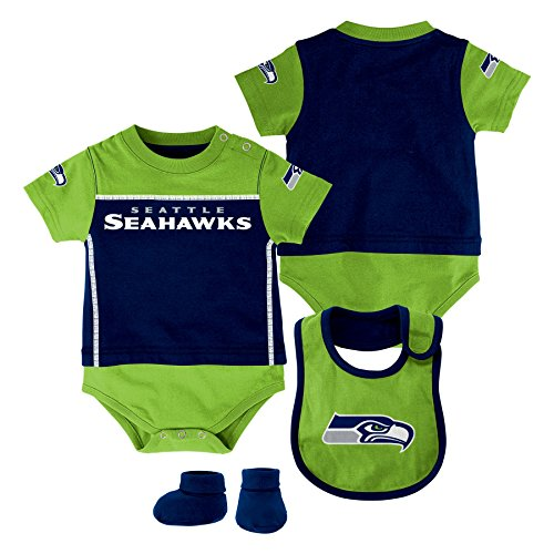 - NFL Seattle Seahawks Creeper/Bib and Bootie Set, Youth 24 Months, DK Navy